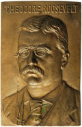 Political:3D & Other Display (1896-present), Scarce 1900 Teddy Roosevelt Bronze Plaque from his vicepresidential campaign. Roosevelt is depicted frontally as a youngan...