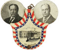 Political:Ribbons & Badges, Rare 1908 Taft & Sherman Lithographed Tin Mechanical Badge. Their portraits pop out from behind a shield-shaped pin bearing ...