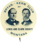 "Political:Pinback Buttons (1896-present), Rare 1 1/4"" 1908 Bryan & Kern Jugate Button from Montana. Thisdistinctive blue/cream design is considered one of the best B..."