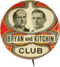 Political:Pinback Buttons (1896-present), Another Top William Jennings Bryan Coat-Tail Button Rarity from the 1908 Collection. A spectacular multicolor design, this 1...