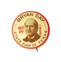Political:Pinback Buttons (1896-present), Terrific 1908 William Jennings Bryan Texas State Fair Button.Unique, colorful design, subject matter, and extreme rarity co...