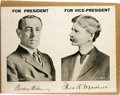 """Political:Posters & Broadsides (1896-present), Wilson & Marshall Jugate Poster. A large black and whitecampaign poster, 25"""" x 19"""", touting Woodrow Wilson for Presidentan..."""