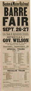 "Political:Posters & Broadsides (1896-present), 1912 Woodrow Wilson Railroad Broadside. A rare Boston and MaineRailroad broadside, 6.75"" x 20"", advertising trains to the B..."
