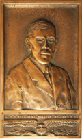Political:3D & Other Display (1896-present), Woodrow Wilson Copper Wall Plaque. A scarce presidential item dominated by Wilson's bust in high relief. The unsigned plaque...