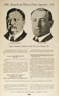 """Political:Posters & Broadsides (1896-present), 1918 Congressional Election Poster. A small poster, 8.5"""" x 14"""", """"1898 - Roosevelt and Wilson in Perfect Agreement - 1918"""". F..."""