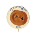 """Political:Pinback Buttons (1896-present), Extremely Rare Variety of 1912 Theodore Roosevelt """"Hat in the Ring""""Button. A """"three-dimensional"""" brown composition hat is a..."""