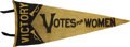 Political:Miscellaneous Political, Victory and Votes For Women Pennant in classic black felt letteringon yellow background. Many states used the black on yell...