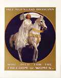 Political:Posters & Broadsides (1896-present), Suffragette Inez Milholland Boissevain Poster. Dressed in white and riding a white horse, carrying a banner representing the...