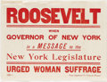 "Political:Posters & Broadsides (1896-present), Oregon Woman Suffrage Poster dated 1910. This wonderful 10.25"" x 14"" red on white poster is pictured in a photograph of wome..."
