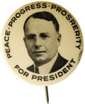 "Political:Pinback Buttons (1896-present), Extremely Rare James M. Cox Button. An elusive 1 1/4"" pinbackeagerly sought by serious collectors of 20th century political..."