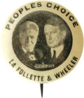 """Political:Pinback Buttons (1896-present), 1"""" La Follette & Wheeler Jugate Pinback Button. We have offered a similar version of this pin in the past, which differed on..."""