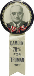"""Political:Ribbons & Badges, Classic Large Philadelphia Badge Harry Truman Button, with Rare Camden, N.J. Ribbon. This beautiful 3 1/2"""" button is highly-..."""