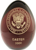 Political:Miscellaneous Political, Easter 2006 White House Presentation Easter Egg. Made from ahandsome deep purple glass this egg is engraved with the presid...
