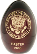 Political:Miscellaneous Political, Camp David Easter 2006 Presentation Easter Egg. Unlike the otherEaster Egg offered in this sale, this one is from Camp Davi...