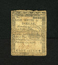 Colonial Notes:Continental Congress Issues, Continental Currency February 17, 1776 $1/6 Fine. The top edgeshows a little wear on this popular Fugio Cent design note....