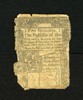 Colonial Notes:Connecticut, Connecticut October 10, 1771 5s Good. This note has been backedwith contemporary materials....