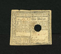 Colonial Notes:Massachusetts, Massachusetts May 5, 1780 $1 Fine. This punch out cancelled notehas been torn in half and reattached with thread....