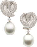 Estate Jewelry:Earrings, Diamond, South Sea Cultured Pearl, Platinum Earrings. ...