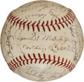 Baseball Collectibles:Balls, 1970 New York Yankees Old Timers' Day Multi Signed Baseball. ...