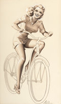 Pin-up and Glamour Art, MERLIN ENABNIT (American, 1903-1979). Pin-Up Riding a Bike,circa 1935-45. Pencil and watercolor on board. 23.5 x 13.5 i...