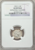 Barber Dimes: , 1902-S 10C -- Improperly Cleaned -- NGC Details. AU. NGC Census: (1/61). PCGS Population (11/94). Mintage: 2,070,000. Numis...