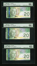 Canadian Currency: , BC-64a $20 2002 Fancy Serial Numbers. ... (Total: 6 notes)