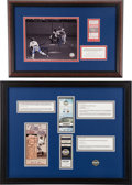 Baseball Collectibles:Tickets, Buck Dent and Mike Torrez Signed 1978 Playoff Game Ticket Displayand Yankee Stadium Ticket Display....