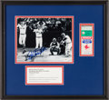 Baseball Collectibles:Tickets, Carlton Fisk Signed Photograph and 1975 W.S. Game 6 Ticket StubDisplay....