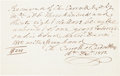 Autographs:Statesmen, Charles Carroll of Carrollton Autograph Receipt Twice Signed....