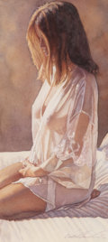 Pin-up and Glamour Art, STEVE HANKS (American, b. 1949). Veiled in Mystery, 2001.Watercolor on board. 14 x 6.25 in. (image). Signed and titled ...