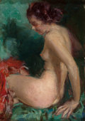 Illustration:Pin-Up, HOWARD CHANDLER CHRISTY (American, 1872-1952). Nude. Oil onpanel. 10-1/2 x 7-1/2 inches (26.7 x 19.1 cm). ...