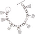 Luxury Accessories:Accessories, Hermes Extremely Rare Diamond & 18k White Gold Signature IconicBag Charm Bracelet. ...