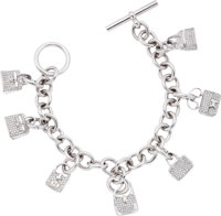 Hermes Extremely Rare Diamond & 18k White Gold Signature Iconic Bag Charm Bracelet