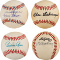 Baseball Collectibles:Balls, Terry, Gehringer, Reese and Bauer/Skowron Signed Baseballs Lot of4....
