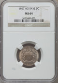 Shield Nickels: , 1867 5C No Rays MS64 NGC. NGC Census: (258/138). PCGS Population(225/78). Mintage: 28,800,000. Numismedia Wsl. Price for p...