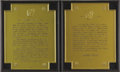Movie/TV Memorabilia:Original Art, Model Plaques from Dean Monument at Griffith Observatory. ...