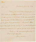 "Autographs:U.S. Presidents, James Madison. Autograph Letter Signed, ""James Madison""), to [Rev.Samuel Miller], Montpellier, January 19, 1822. 1 page. Th..."
