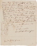 "Autographs:U.S. Presidents, William Henry Harrison. Autograph Letter Signed, ""Willm H. Harrison"", to Gen. John S. Gano, Cincinnati, Nov. 28, 1815. two p..."