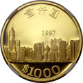 Hong Kong, Hong Kong: Chinese Administration gold Proof 1000 Dollars 1997,...