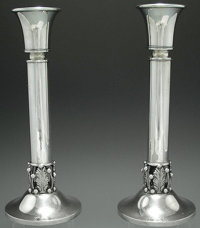 A PAIR OF AMERICAN SILVER ART DECO CANDLESTICKS, Maker unidentified, 1930 Marks: NS (conjoined), STE