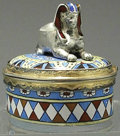 Silver Smalls:Other , A CONTINENTAL SILVER GILT AND ENAMEL SILVER EGYPTIAN-MOTIF COVEREDBOX, Maker unidentified, 1920. Marks: SG, (bell). 1-3...