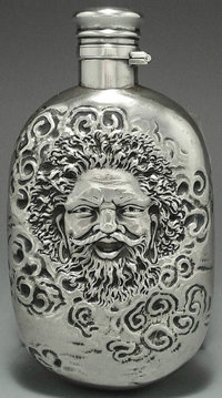 AN AMERICAN SILVER FLASK, Gorham Manufacturing Co., Providence, Rhode Island, 1883 Marks: (lion-anchor-G), STER