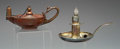 Silver Smalls:Cigar Lamps, TWO AMERICAN HAMMERED SILVER AND PATINATED COPPER CIGAR LAMPS,Gorham Manufacturing Co., Providence, Rhode Island; William W...(Total: 2 Items)