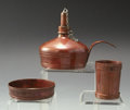 Silver Smalls:Cigar Lamps, AN AMERICAN COPPER CIGAR LAMP WITH CUP AND BOWL, GorhamManufacturing Co., Providence, Rhode Island, 1884. Marks: GORHAMC... (Total: 3 Items)