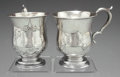 Silver Holloware, American:Coin Silver, A PAIR OF AMERICAN SILVER CUPS, Maker unidentified, circa 1860.Marks: E.S. & J. ETTENHEIMER. 3-3/4 inches high (9.5cm)... (Total: 2 Items)