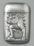 Silver Smalls:Match Safes, AN AMERICAN SILVER AND GOLD BULL DOG MATCH SAFE, Maker unknown,circa 1890. Marks: STERLING. 2-1/2 inches high (6.4 cm)...
