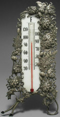 Silver Smalls:Other , AN AMERICAN SILVER-MOUNTED CHRYSANTHEMUM PATTERN THERMOMETER,George W. Shiebler & Co., New York, New York, circa 1890.Mark...