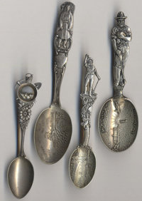 A GROUP OF FOUR AMERICAN SILVER MINING SOUVENIR SPOONS, Various makers, circa 1900 Marks: (various maker's marks)