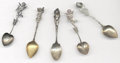 Silver Souvenir Spoons:Figural, A GROUP OF FIVE AMERICAN SILVER AND GILT CHERUB SOUVENIR SPOONS,Various makers, circa 1900. Marks: (falcon-R-lion); H (...(Total: 5 Items)
