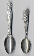 Silver Souvenir Spoons:Native American, TWO SILVER NATIVE AMERICAN SOUVENIR SPOONS, Paye & BakerManufacturing Co., North Attleboro, Massachusetts; George W.Shiebl... (Total: 2 Items)